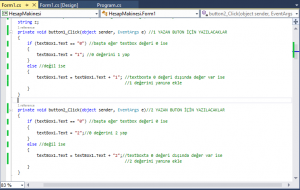 Kodların yazıldığı halinden bir örnek